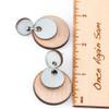 Wood & Leather Dangle Earrings - Moondrop Layers (Pale Blue / Alder)