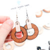 Wood & Leather Dangle Earrings - Ozone Layers (Pale Pink / Lacewood)