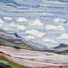 "Mixed Media Fiber Art Landscape: Foothill Textures (24""x36"")  Rug Hooking, Punching, Needle Felting"