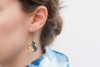Round Abstract Paint & Gold Leaf Dangle Earrings - Navy Blue