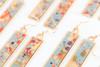 Long Splatter Painted Dangle Earrings - Autumn Leaves