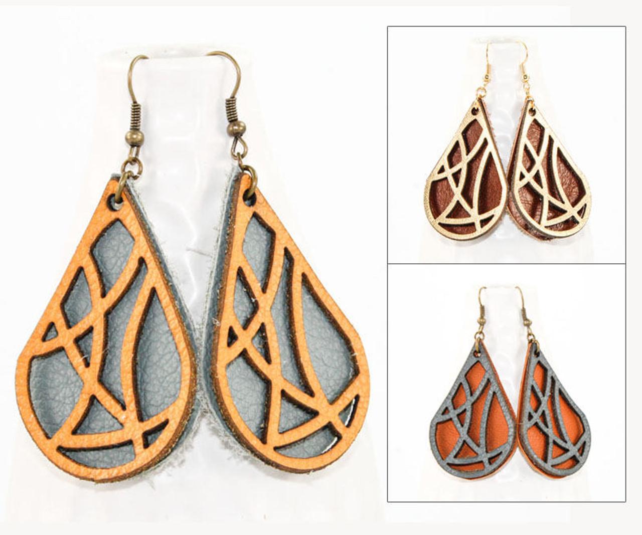 5f12f0c4e Leather Earrings - Geometric Teardrop - Once Again Sam