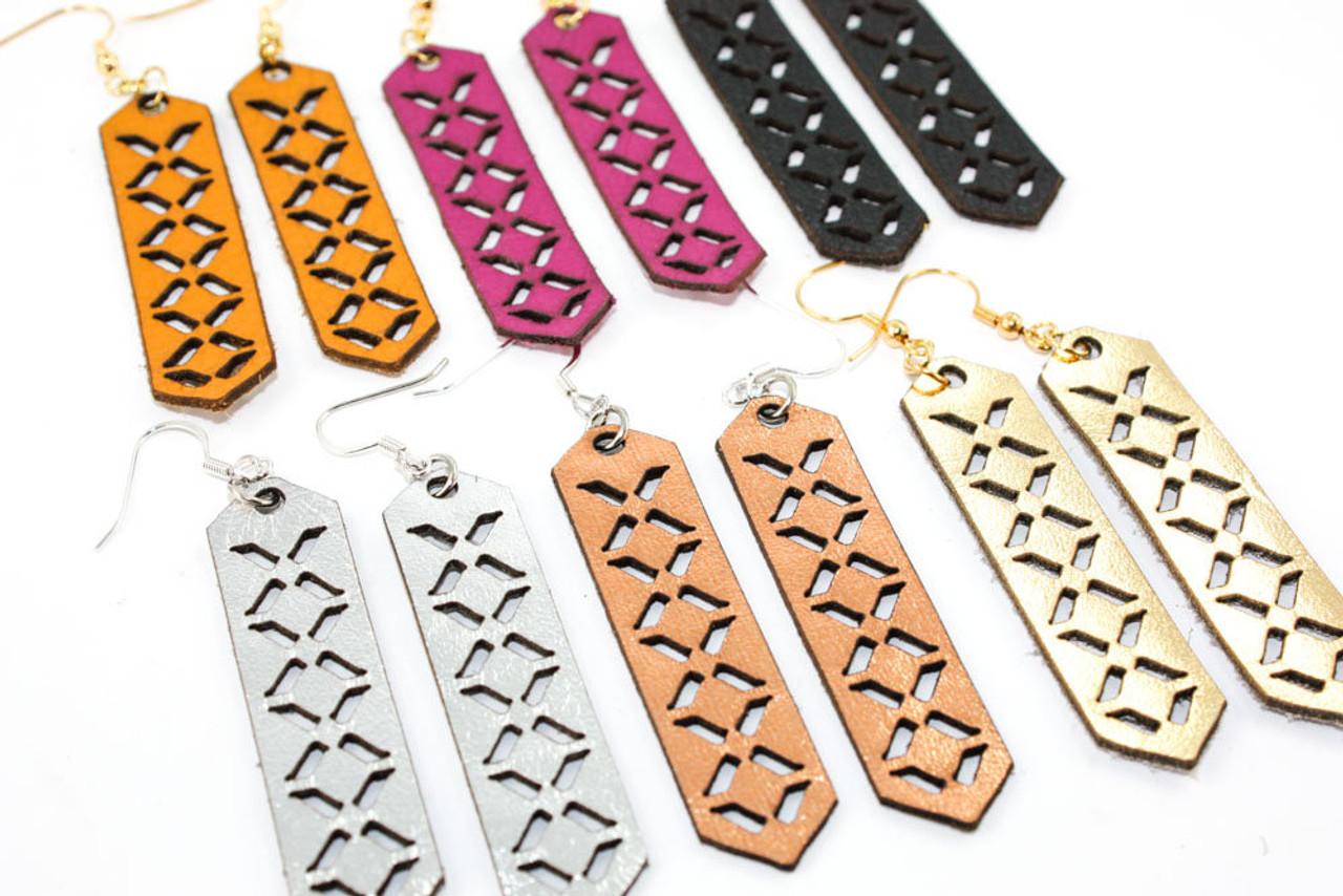 12c606793 Leather Earrings - Geometric Arrow Pattern - Once Again Sam