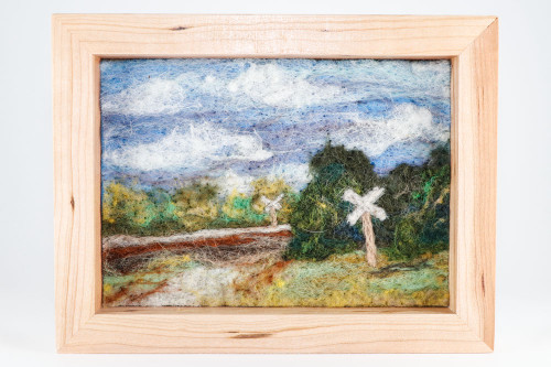 Wool Landscape Painting: Crossings - Day 89 (7x9)