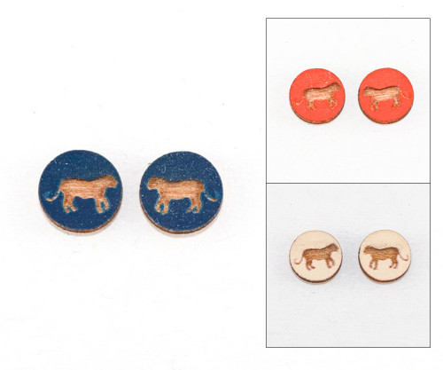 Cameo Post Earring - Tiger