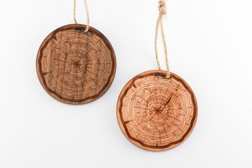 Wood Christmas Ornament: Tree Cross Section