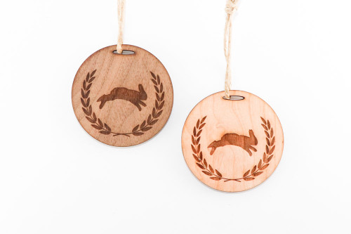 Wood Christmas Ornament: Leaping Rabbit