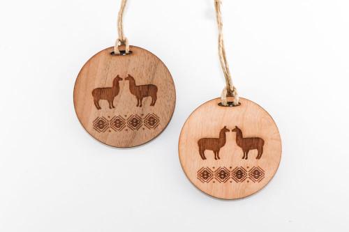Wood Christmas Ornament: Llamas