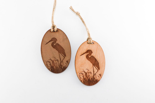 Wood Christmas Ornament: Blue Heron