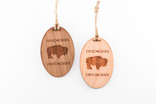 Wood Christmas Ornament: Bison