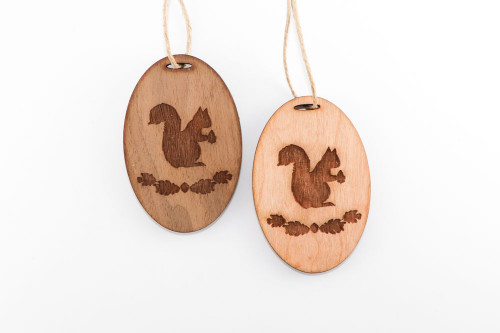 Wood Christmas Ornament: Squirrel