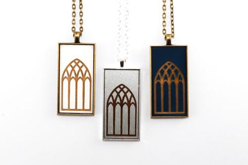 Large Cameo Pendant - Gothic Arch Window Design