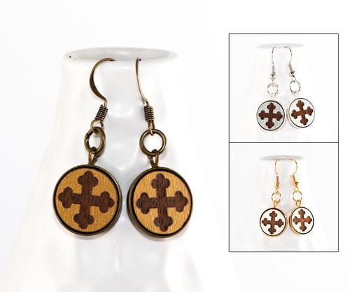 Dangle Earrings - Trefoil Cross