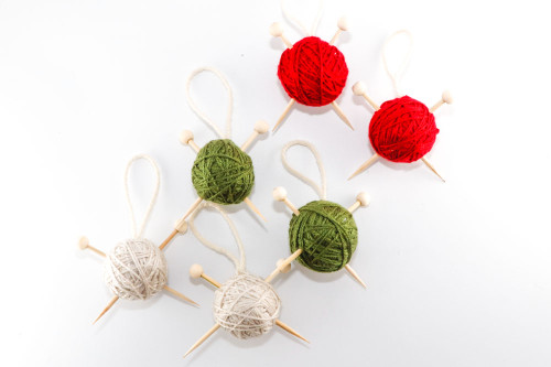 Knitter's Christmas Ornament (Choose Your Ball of Yarn Color: Red, Green, or Cream)
