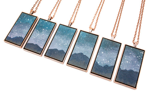 Landscape Painting Pendant - Mountains at Night