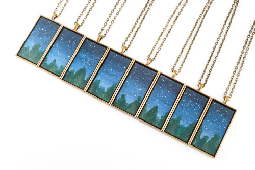 Landscape Painting Pendant - Evergreens at Night