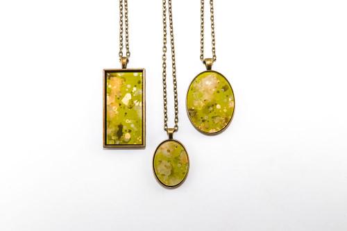 Splatter Painted Pendant - Lemongrass (Choose Your Setting)