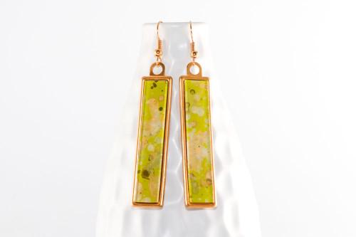 Long Splatter Painted Dangle Earrings - Lemongrass