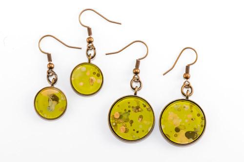 Round Splatter Painted Dangle Earring - Lemongrass
