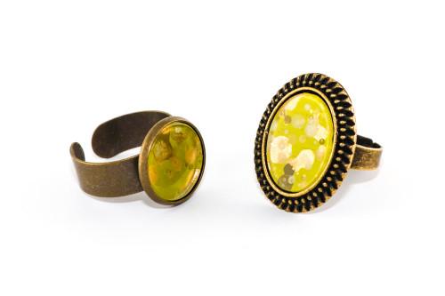 Splatter Painted Ring - Lemongrass (Choose Your Setting)