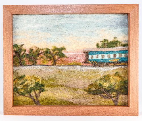 Wool Landscape Painting: On a Train in India (10x12)