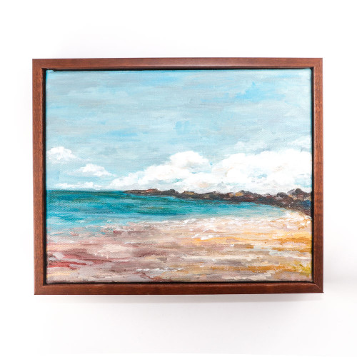 Original Landscape Painting: Breakwater  View (10x12) Framed Acrylic on Canvas