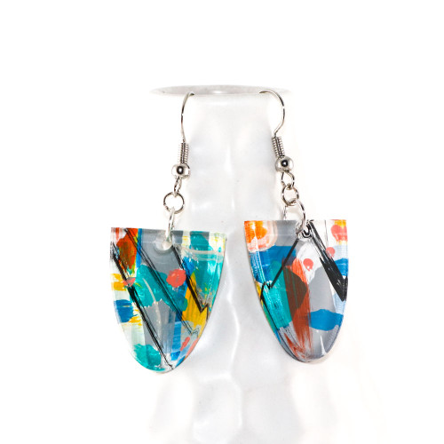 Abstract Painted Acrylic Dangle Earrings - Half Oval Design (Carnival Colorway)