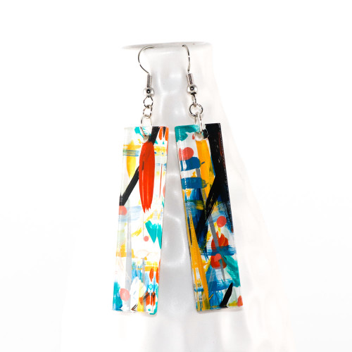 Abstract Painted Acrylic Dangle Earrings - Bar Design (Carnival Colorway)