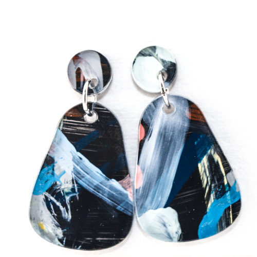 Abstract Painted Acrylic Dangle Earrings - Dewdrop Design (Night Garden Colorway)