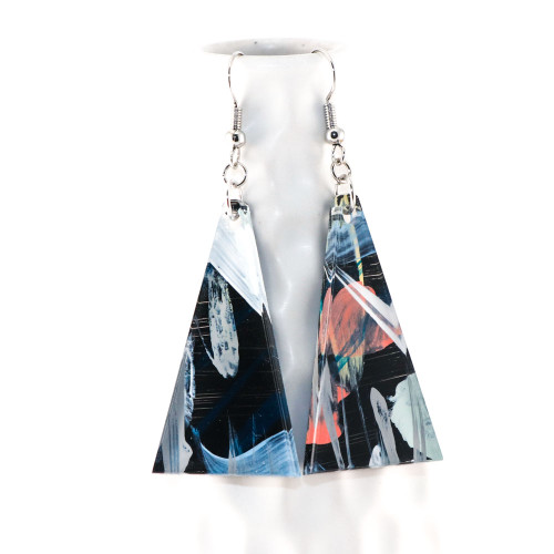 Abstract Painted Acrylic Dangle Earrings - Triangle Design (Night Garden Colorway)
