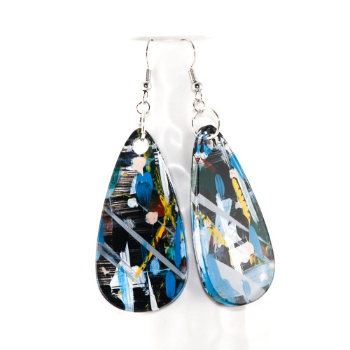 Abstract Painted Acrylic Dangle Earrings - Teardrop Design (Urban Sky Colorway)