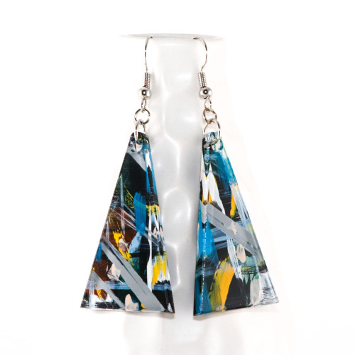 Abstract Painted Acrylic Dangle Earrings - Triangle Design (Urban Sky Colorway)