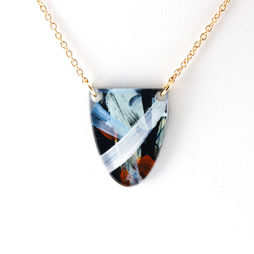 Abstract Painted Acrylic Necklace - Half Oval Design (Night Garden Colorway)
