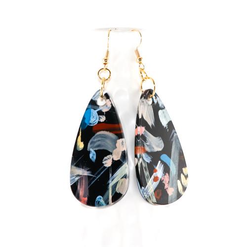 Abstract Painted Acrylic Dangle Earrings - Teardrop (Night Garden Colorway)