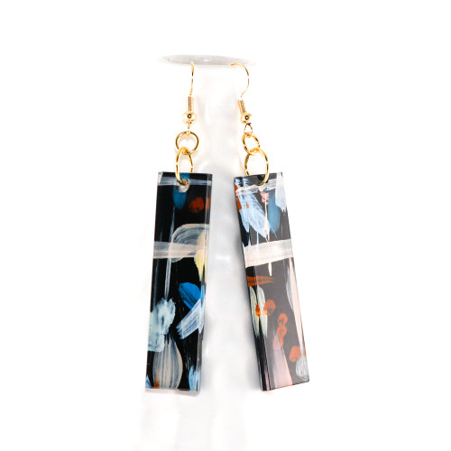 Abstract Painted Acrylic Dangle Earrings - Bar Design (Night Garden Colorway)