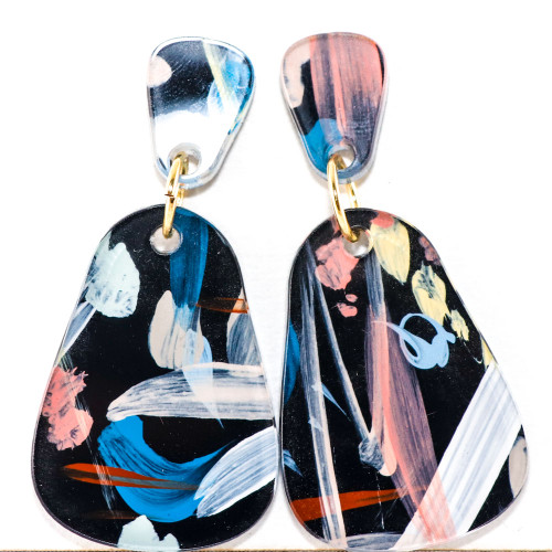 Abstract Painted Acrylic Dangle Earrings - Dewdrop (Night Garden Colorway)