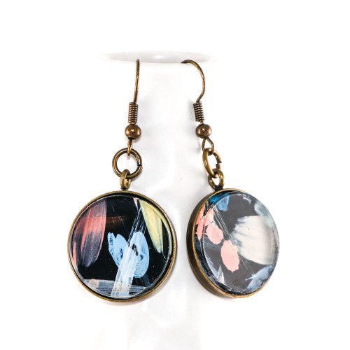 Abstract Painted Acrylic Dangle Earrings - Round Dangle (Night Garden Colorway)