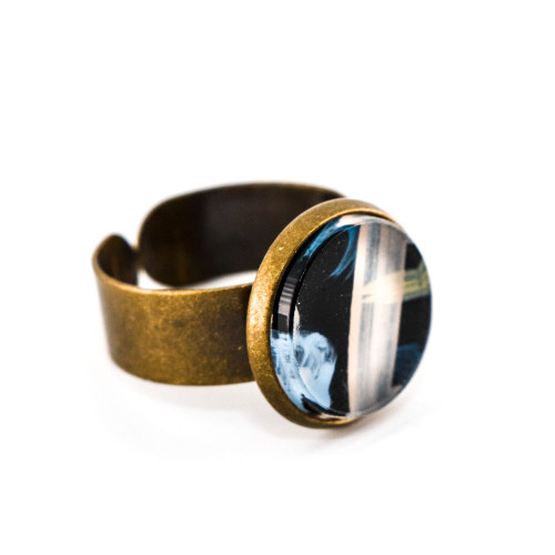 Abstract Painted Acrylic Ring - Round Brass Setting (Night Garden Colorway)