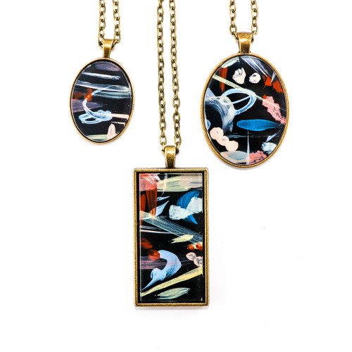 Abstract Painted Acrylic Pendant Necklace (Night Garden Colorway)