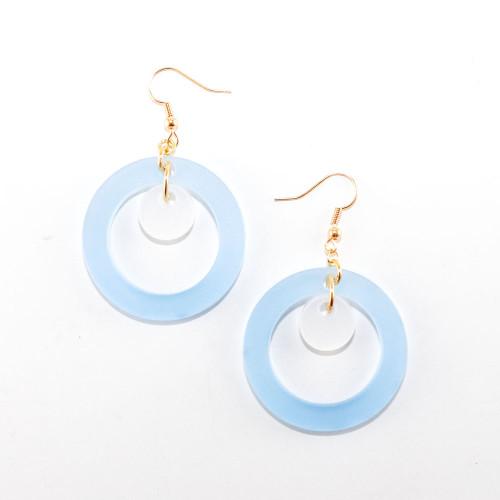 Acrylic Dangle Earrings - Orbit Design (Sky Blue)