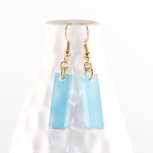 Acrylic Dangle Earrings - Tiny Bars Design (Aqua)