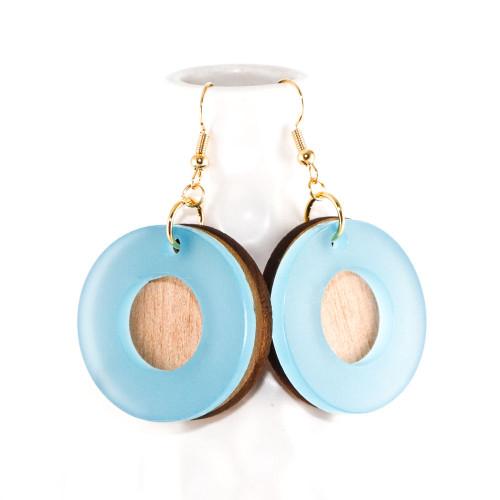 Acrylic and Wood Dangle Earrings - Orbit Design (Sky Blue and Alder Wood)