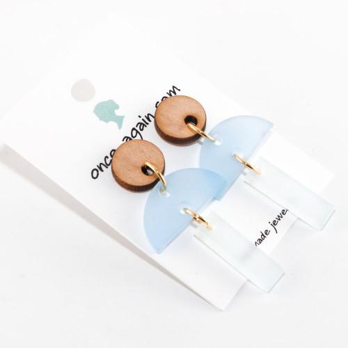 Acrylic Dangle Earrings - Hemisphere Design (Alder / Sky Blue / Frost)