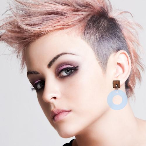 Acrylic and Wood Dangle Earrings - Ozone Design (Rosewood and Sky Blue Acrylic)