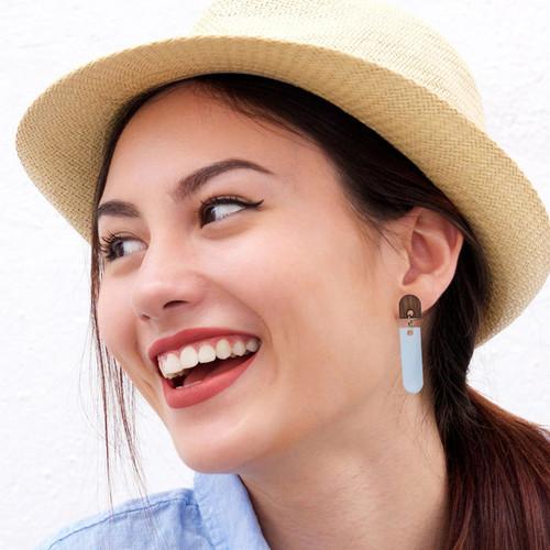 Acrylic Dangle Earrings - Latitude Design (Rosewood / Sky Blue)