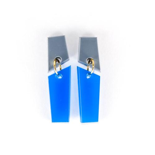 Laser Cut Acrylic Dangle Earrings - Meridian Design (Gray / Cobalt Blue)