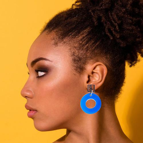 Wood and Acrylic Dangle Earrings - Ozone Design (Rosewood and Cobalt Blue Acrylic)
