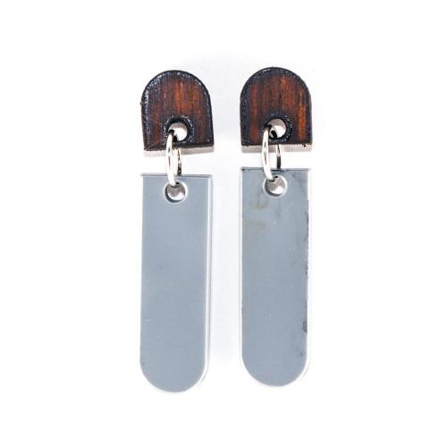 Wood and Acrylic Dangle Earrings - Latitude Design (Rosewood / Gray)