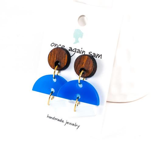 Acrylic and Wood Dangle Earrings - Hemisphere Design (Rosewood / Cobalt Blue / Frost))