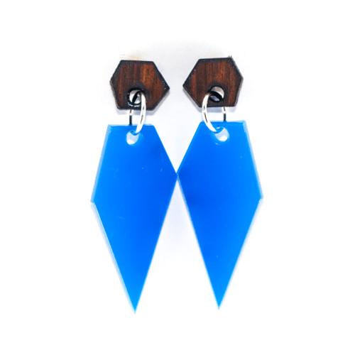 Wood and Acrylic Dangle Earrings - Ice Crystal Design (Rosewood / Cobalt Blue)